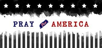 Помолите для Америки, черно-белый Стоковая Фотография