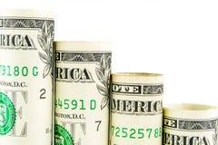 Понижаясь шаги сделанные банкнот одного американских доллара Стоковое фото RF