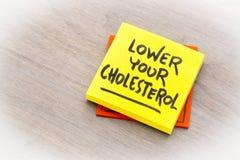 Понизьте ваше примечание напоминания холестерола стоковые изображения rf