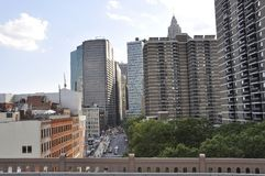 Понизьте небоскребы Манхаттана от Нью-Йорка в Соединенных Штатах стоковые фото
