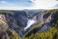 Понизьте падения гранд-каньона национального парка Йеллоустона стоковое изображение