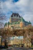 Понизьте старый городок Basse-Ville и замок Frontenac - Квебек (город), Квебек, Канаду Стоковое Фото