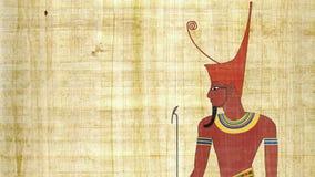 Понизьте фараона Египта в предпосылке папируса видеоматериал