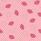 пони сонный Vector безшовная картина, абстрактная предпосылка сделанная из губ и цветки Стоковая Фотография RF