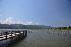 Понтон на реке Стоковое фото RF