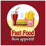 Пообедайте с французскими фраями, хот-догом и содой Быстро-приготовленное питание Плоский дизайн также вектор иллюстрации притяжк Стоковые Фото