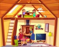 Поперечное сечение дуплекса вектора со счастливой семьей бесплатная иллюстрация