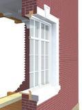 Поперечное сечение деревянного окна Стоковое Изображение