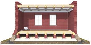 Поперечное сечение дома кирпича Стоковое Изображение RF