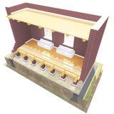 Поперечное сечение дома кирпича Стоковое Изображение