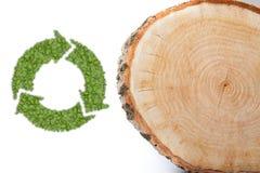 Поперечное сечение ствола дерева с рециркулирует символ Стоковое Фото