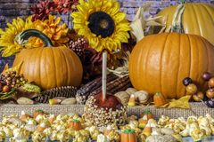 Попкорн карамельки Яблока конфеты и оранжевые тыквы стоковые фотографии rf