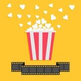 Попкорн Линия ленты прокладки фильма Красная желтая коробка Значок ночи кино кино в плоском стиле дизайна иллюстрация штока