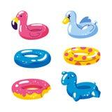 Поплавки милых детей бассейна раздувные, вектор изолированные элементы дизайна Единорог, фламинго, шарик лебедя, значки донута из бесплатная иллюстрация