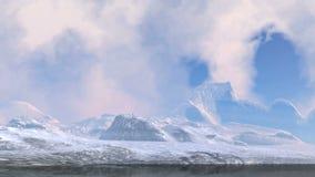 Поплавок облаков над горными пиками сток-видео