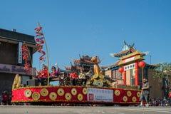 Поплавок пункта обслуживания Чайна-тауна на известном PA дракона Goldern стоковое фото rf