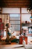 Попробуйте комнату на вилле Jidaimura старой Эдо даты Noboribetsu исторической стоковая фотография rf