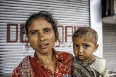 Попрошайки на улице в Kolkata, Индии Стоковые Изображения RF