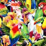 Попугаи акварели с картиной тропических цветков безшовной иллюстрация вектора