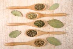 Популярные итальянские травы на деревянных ложках на деревянной таблице Стоковая Фотография RF