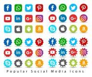 Популярные социальные значки средств массовой информации иллюстрация штока