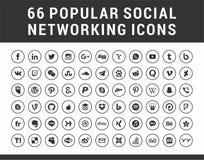66 популярных социальных средств массовой информации, значки круга сети установленные иллюстрация вектора