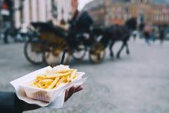Популярная высококалорийная вредная пища улицы в Брюгге, Бельгии французские фраи с стоковое изображение