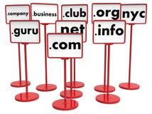 Популярные доменные имена, концепция интернета стоковое изображение