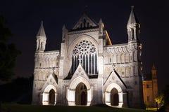 Популярные света ночи церков аббатства Сент-Олбанса Стоковое Изображение RF