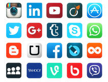 Популярные социальные значки средств массовой информации иллюстрация вектора
