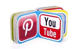 популярные социальные логотипы средств массовой информации Стоковое Изображение RF