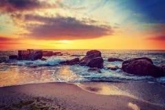 поплавайте вдоль побережья море утесов Стоковые Фотографии RF