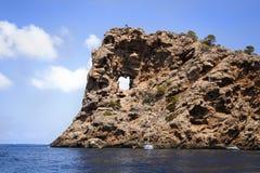 поплавайте вдоль побережья полуостров sa малую Испанию foradada mallorca на запад Стоковая Фотография RF