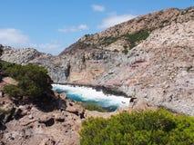 Поплавайте вдоль побережья, san pietro, Сардиния, Италия Стоковое Изображение RF