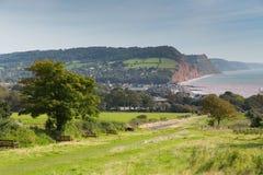 Поплавайте вдоль побережья Sidmouth Девон Англия Великобритания с местами на прибрежном пути Стоковые Фото