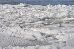 Поплавок ледниковых щитов на реке Дунае стоковое изображение