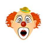 Поражанный, клоун, в ударе, в ужасе взволнованности Иллюстрация вектора плоского дизайна Стоковые Изображения RF