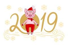 Поросенок в праздничной крышке и mittens меха иллюстрация штока