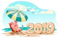 Поросенок на каникулах в 2019, на пляже под зонтиком, вектор бесплатная иллюстрация