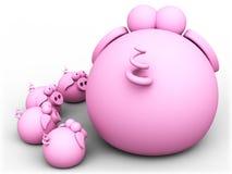 поросята свиньи мамы Стоковая Фотография