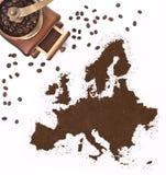 Порошок кофе в форме Европы и мельницы кофе (серия) Стоковые Изображения RF