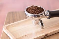 Порошок кофе с фильтром эспрессо Стоковая Фотография RF
