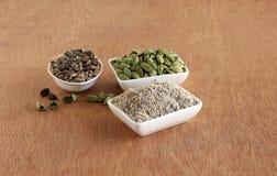 Порошок, семена, и стручки кардамона в шарах стоковое фото rf