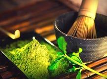 Порошок Matcha Органическая зеленая церемония чая matcha стоковые изображения