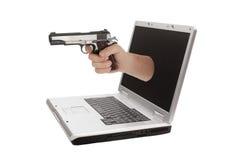 Портативный компьютер изолированный на белой предпосылке Стоковые Изображения RF