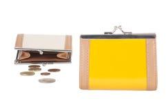 2 портмона и европейских монетки Стоковое Фото