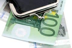 портмоне евро кожаное Стоковое Изображение RF