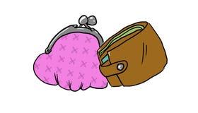 Портмоне и бумажник иллюстрация штока