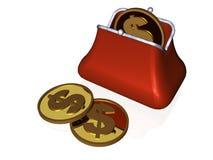 Портмоне и монетка стоковое изображение rf