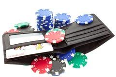 портмоне покера черных обломоков кожаное Стоковое Фото